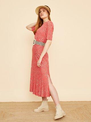 Béžovo-červená vzorovaná midi sukňa s rozparkom ZOOT Norine