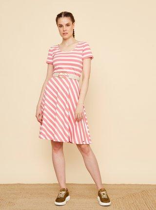 Bielo-ružové pruhované šaty ZOOT Jesica