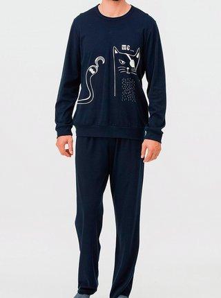 Pánské pyžamo 11424 - Vamp tm.modrá s potiskem