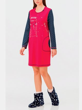 Dámská noční košile 11430-144 červená-puntík - Vamp růžová