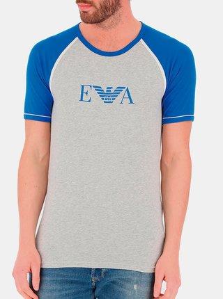 Pánské tričko 110811 0P529 00048 šedo-modrá - Emporio Armani