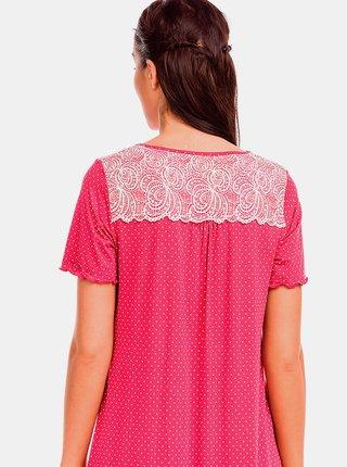 Dámská noční košile 12142-44 červená-puntík - Vamp - puntík