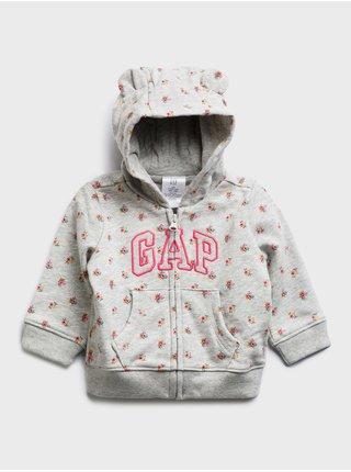 Šedá holčičí baby mikina GAP Logo arch hood