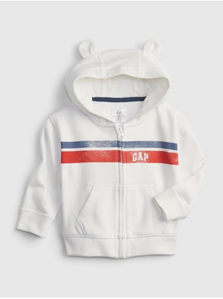 Bílá klučičí baby mikina GAP Logo arch novelty hoodie
