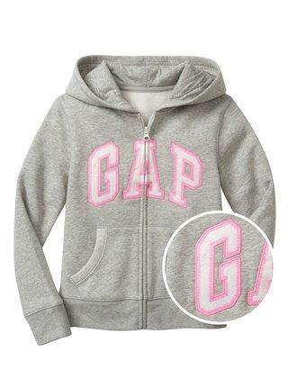 Šedá holčičí dětská mikina GAP Logo zip hoodie