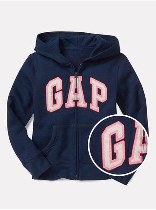 Modrá holčičí dětská mikina GAP Logo zip hoodie