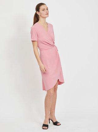 Růžové zavinovací šaty VILA Nayeli