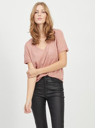 Starorůžové tričko s kapsou .OBJECT Tessi