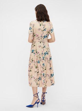 Krémové květované košilové midišaty .OBJECT Paree