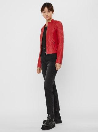 Červená koženková bunda VERO MODA Love