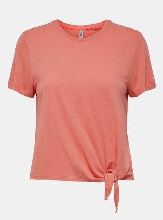 Korálové tričko s uzlem ONLY Signe