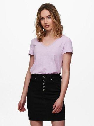 Svetlofialové basic tričko ONLY Kendall