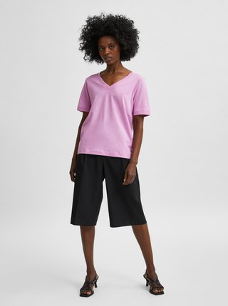 Růžové basic tričko Selected Femme Standard