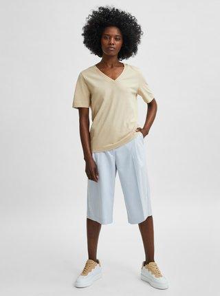 Krémové basic tričko Selected Femme Standard