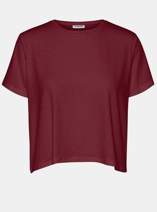 Vínové voľné basic tričko Noisy May Elly