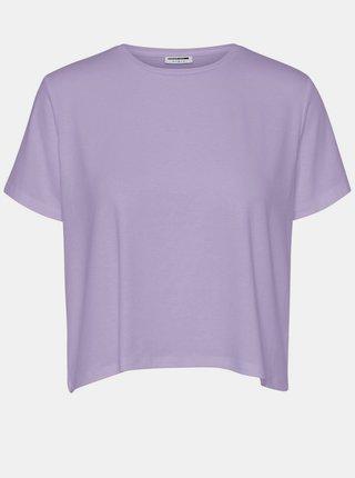Svetlofialové voľné basic tričko Noisy May Elly