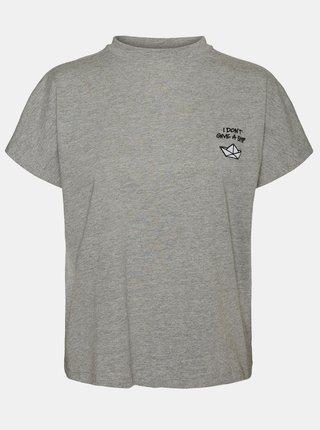 Šedé tričko s potlačou Noisy May Hailey