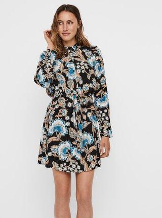 Modro-černé květované košilové šaty VERO MODA Lola