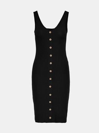 Čierne púzdrové šaty s gombíkmi ONLY Nella