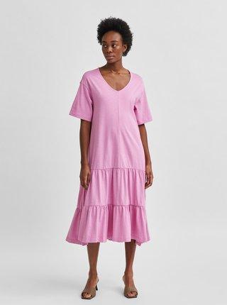 Ružové voľné midišaty Selected Femme Reed