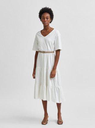 Biele voľné midišaty Selected Femme Reed