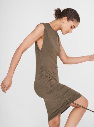 Kaki púzdrové šaty so sťahovaním na boku Noisy May Multo