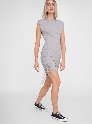 Svetlošedé púzdrové šaty so sťahovaním na boku Noisy May Multo