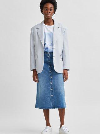 Modrá rifľová midi sukňa Selected Femme Asly