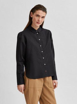 Čierna voľná ľanová košeľa Selected Femme Sybilla