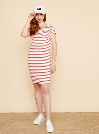 Červeno-biele pruhované púzdrové šaty ZOOT Vally