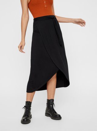 Černá zavinovací midi sukně Pieces Elonora