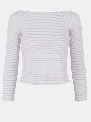Fialovo-bílé pruhované tričko Pieces Alicia