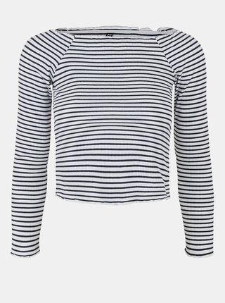 Tričká s dlhým rukávom pre ženy Pieces - tmavomodrá, biela