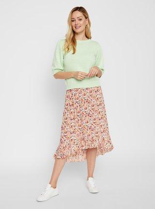 Růžová květovaná midi sukně Pieces Mayrin