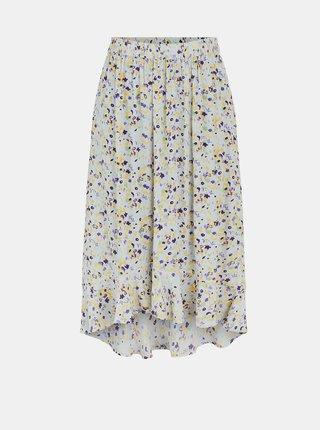 Fialovo-krémová květovaná midi sukně Pieces Mayrin