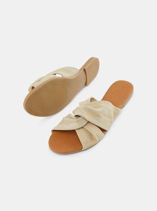 Béžové semišové pantofle Pieces Nellie