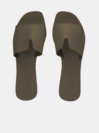 Khaki kožené pantofle Pieces Nora