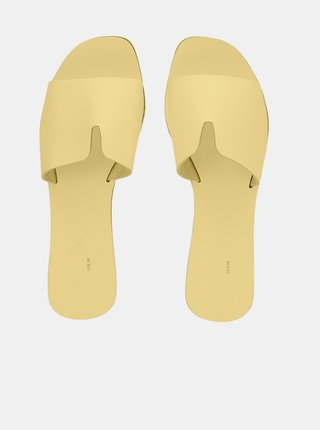 Žluté kožené pantofle Pieces Nora