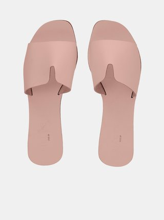 Růžové kožené pantofle Pieces Nora
