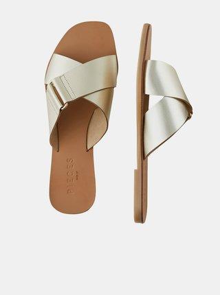 Kožené pantofle ve zlaté barvě Pieces Nea