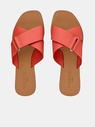 Korálové kožené pantofle Pieces Nea