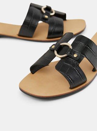 Černé kožené pantofle Pieces Abia