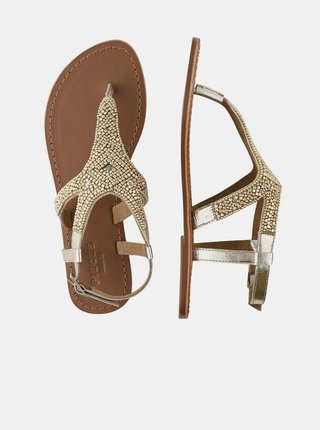 Kožené sandálky v zlatej farbe s ozdobnými korálkami Pieces Amma