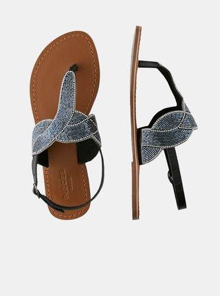 Čierne kožené sandálky s ozdobnými korálkami Pieces Analine