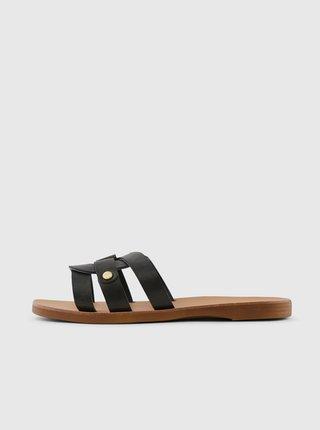 Černé kožené pantofle Pieces Anilla