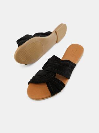 Černé semišové pantofle Pieces Nellie