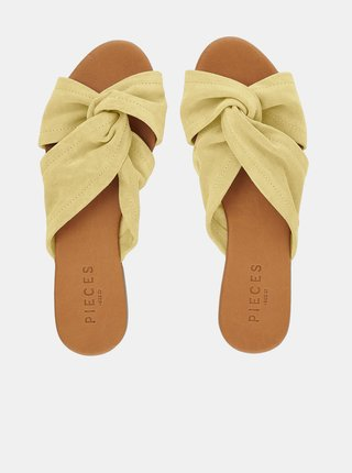 Žluté semišové pantofle Pieces Nellie