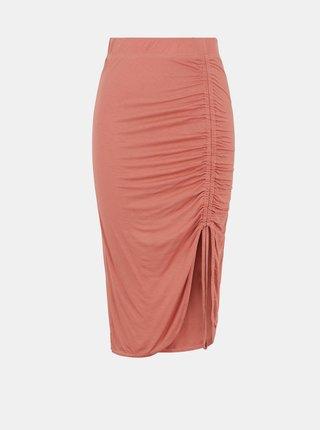 Růžová pouzdrová sukně se stahováním na boku Pieces Neora