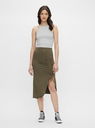 Khaki pouzdrová sukně se stahováním na boku Pieces Neora