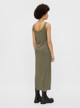 Khaki basic maxišaty Pieces Kalli